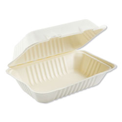 Boardwalk Bagasse Molded Fiber Food Containers, Hinged-Lid, 1-Compartment 9 x 6, White, 125/Sleeve, 2 Sleeves/Carton