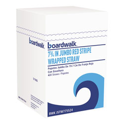 Boardwalk Wrapped Jumbo Straws, 7 3/4 in, Plastic, Red w/White Stripe, 400/Pack, 25 Packs/CT