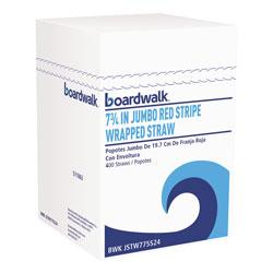 Boardwalk Wrapped Jumbo Straws, 7 3/4 in, Plastic, Red w/White Stripe, 400/Pack