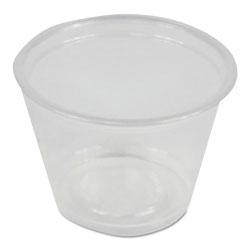 Boardwalk Soufflé/Portion Cups, 1 oz, Polypropylene, Clear, 20 Cups/Sleeve, 125 Sleeves/Carton