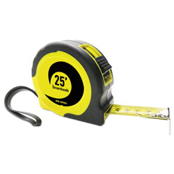 Boardwalk Easy Grip Tape Measure, 25 ft, Plastic Case, Black and Yellow, 1/16 in Graduations
