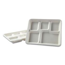 Boardwalk Bagasse Molded Fiber Dinnerware, 5-Compartment Tray, 8 x 12, White, 500/Carton