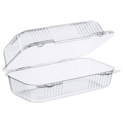 "Dart C35UT1 Staylock 9"" Clear Hinged Lid Oblong Containers"