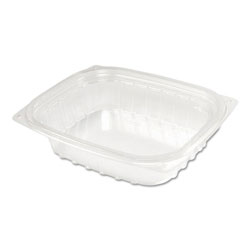 Dart ClearPac Plastic Container w/Lid, 5-7/8x4-7/8x1-5/16, Clear 8oz 63/PK 4 PK/CT