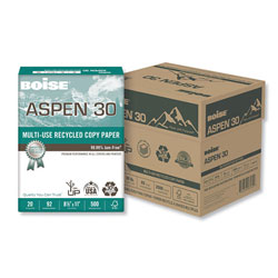 Boise ASPEN Multi-Use Recycled Paper, 92 Bright, 20lb, 8.5 x 11, White, 500 Sheets/Ream, 5 Reams/Carton