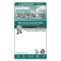 Boise ASPEN 30 Multi-Use Recycled Paper, 92 Bright, 20lb, 8.5 x 14, White, 500 Sheets/Ream, 10 Reams/Carton