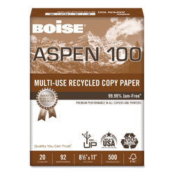 Boise ASPEN Multi-Use Recycled Paper, 92 Bright, 20lb, 8.5 x 11, White, 500 Sheets/Ream, 10 Reams/Carton