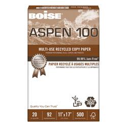 Boise ASPEN Multi-Use Recycled Paper, 92 Bright, 20lb, 11 x 17, White, 500 Sheets/Ream, 5 Reams/Carton