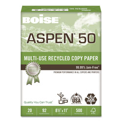 Boise ASPEN 50 Multi-Use Recycled Paper, 92 Bright, 20lb, 8.5 x 11, White, 500 Sheets/Ream, 10 Reams/Carton