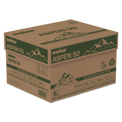 Boise ASPEN 50 Multi-Use Recycled Paper, 20 Bright, 20lb, 8.5 x 14, White, 500 Sheets/Ream, 10 Reams/Carton