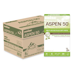 Boise ASPEN 50 Multi-Use Recycled Paper, 96 Bright, 20lb, 11 x 17, White, 500 Sheets/Ream, 5 Reams/Carton