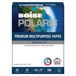 Boise POLARIS Premium Multipurpose Paper, 97 Bright, 24lb, 8.5 x 11, White, 500 Sheets/Ream, 10 Reams/Carton