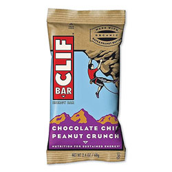 CLIF Bar Energy Bar, Chocolate Chip Peanut Crunch, 2.4 oz Bar, 12 Bars/Box