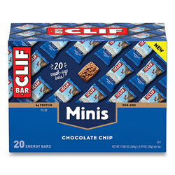 CLIF Bar Energy Bar, Mini Chocolate Chip, 0.99 oz Bar, 20/Box