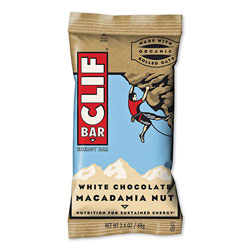 CLIF Bar Energy Bar, White Chocolate Macadamia Nut, 2.4 oz Bar, 12 Bars/Box