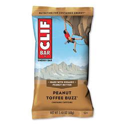 CLIF Bar Energy Bar, Peanut Toffee Buzz, 2.4 oz Bar, 12 Bars/Box