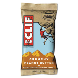 CLIF Bar Energy Bar, Crunchy Peanut Butter, 2.4 oz, 12/Box