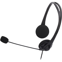 Compucessory Lightweight Stereo Headphones with Microphone, Black