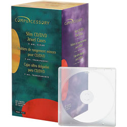 Compucessory CD Case, Slim, 50/PK, Clear