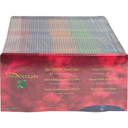 Compucessory 55403 Assorted Thin CD/DVD Jewel Case
