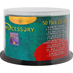 Compucessory CD-RW, Branded Surface, 700MB/80 Minute Cap, 12X Speed, 50/Pack