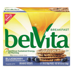Nabisco belVita Breakfast Biscuits, 1.76 oz Pack, Blueberry, 64/Carton