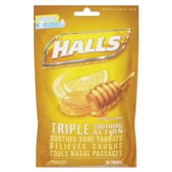 Halls Triple Action Cough Drops, Honey-Lemon, 30/Bag, 12 Bags/Box