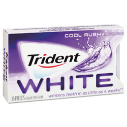 Trident® White Sugarless Gum, Cool Rush Flavor, 16-Pieces/Pack, 9 Packs/Box