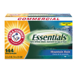 Arm & Hammer® Essentials Dryer Sheets, Mountain Rain, 144 Sheets/Box, 6 Boxes/Carton