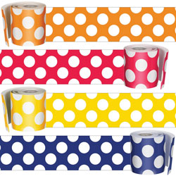 Carson Dellosa Borders for Bulletin Boards Dots, 3 inx36' Rolls, 4 Rolls, Multi