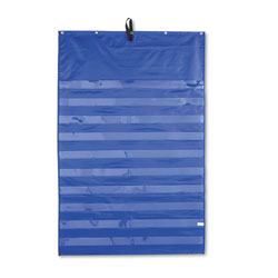 Carson Dellosa Essential Pocket Chart, Ten Clear and One Storage Pocket, Grommets, Blue, 31 x 42
