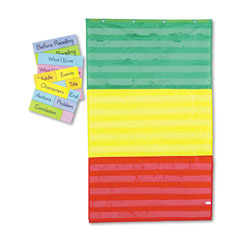 Carson Dellosa Adjustable Tri-Section Pocket Chart with 18 Color Cards, Guide, 33.75 x 55.5