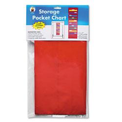 Carson Dellosa Storage Pocket Chart with Ten 13.5 x 7 Pockets, Hanger Grommets, 14 x 47