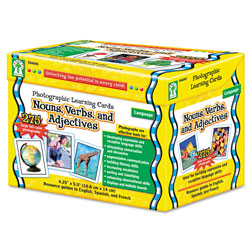 Carson Dellosa Photographic Learning Cards Boxed Set, Nouns/Verbs/Adjectives, Grades K-5