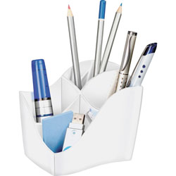 CEP Pencil Cup, 4-Compartment, 3-1/2 inWx4-5/8 inDx3-7/8 inH, White