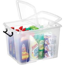 CEP Storage Box, 40 Liter, 15-3/5 inWx19-7/10 inDx13 inH, Clear