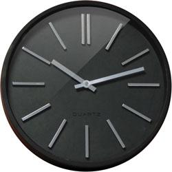 CEP Clock, Silent Quartz, 13-4/5 inWx1-9/10 inLx13-4/5 inH, Black/Silver