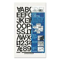 Chartpak/Pickett Press-On Vinyl Letters & Numbers, Self Adhesive, Black, 1 inh, 88/Pack