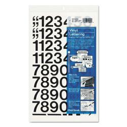 Chartpak/Pickett Press-On Vinyl Numbers, Self Adhesive, Black, 1 inh, 44/Pack