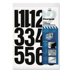 Chartpak/Pickett Press-On Vinyl Numbers, Self Adhesive, Black, 4 inh, 23/Pack