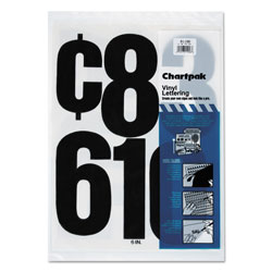 Chartpak/Pickett Press-On Vinyl Numbers, Self Adhesive, Black, 6 inh, 21/Pack