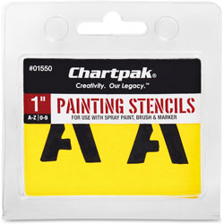 """Chartpak/Pickett Painting Stencil Numbers/Letters, 1"""", Yellow"""