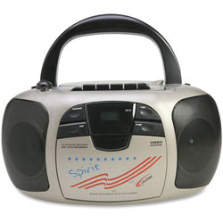 Califone Multimedia Player/Recorder Boombox, 1/CT, Silver/Black