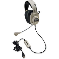 Califone Rugged Headset w/USB Plug, Beige