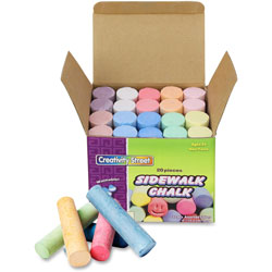 "Chenille Kraft Sidewalk Chalk, Washable/Nontoxic, 20/BX, 4""x1"", Assorted"