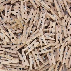 Chenille Kraft Mini Clothespins, 250/BG, Natural