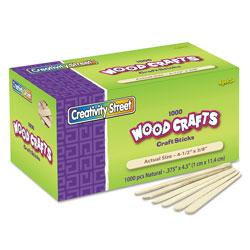 Creativity Street Natural Wood Craft Sticks, 4.5 in x 0.38 in, Wood, Natural, 1,000/Box