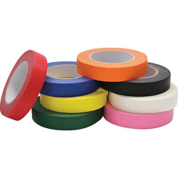 Chenille Kraft Colored Masking Tape Classroom Pack, 1 in x 60 yards, Assorted, 8 Rolls/Pack