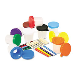 Chenille Kraft No-Spill Cups & Coordinating Brushes, Assorted Colors, 10/Set