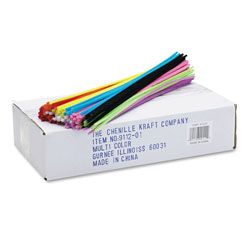 Creativity Street Regular Stems, 12 in x 0.16 in, Metal Wire, Polyester, Assorted, 1,000/Box